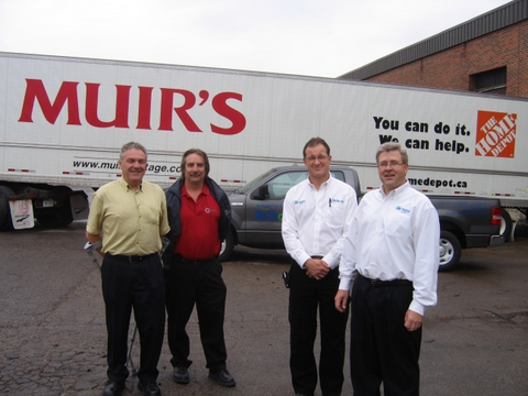 From left: Ray Barrett, national accounts manager, Home Depot from Muirs Cartgage; Ed Brownsett, distribution centre manager, Custom Building Products; Daryl Morrison, Habitat ReStore manager; and Thomas Fischer, executive director of Habitat for Humanities Brampton.