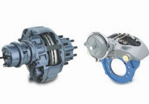 BETTER STOPPING: Changes in stopping distance requirements for heavy trucks could mean bigger drum brakes, the switch to disc brakes, or a combination of solutions. Pictured is MeritorWabco's dual-piston disc brake (left) and single-piston option (right). The single-piston offering reduces weight and cost.