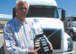PASSIONATE: Dan Cushing is photographed with his award before he hustled back to the shop to continue with his duties. The Ryder Canada maintenance manager was named this year's Maintenance Manager of the Year.