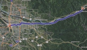 SCENIC DRIVE: The route took me up I-84, along the beautiful Columbia River Gorge and up some decent-sized hills.