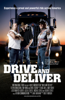 The stars of 'Drive and Deliver' (Chris, Tim and Steve) pose in front of an International LoneStar in this film poster.