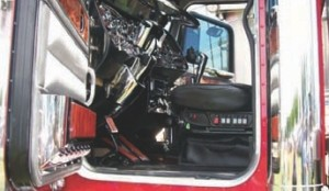 THE INSIDE, TOO?: Lots of chrome in the cab means even more work for show truck owners.