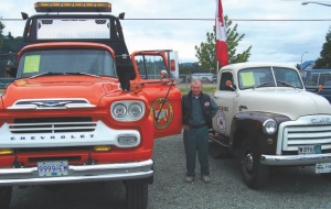 CHEVROLET WAY: Antique truck collector and restorer extraordinaire, Glen Morrow, shows off a couple favourites from his private collection.