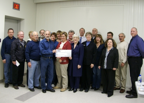 Fergus Truck Show officials present a cheque for more than $45,000 to local groups who volunteered their time at this year's event.