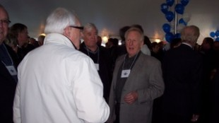 Ross Mackie greets guests at last night's gala dinner celebrating the company's 80th year in business.