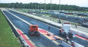 AND THEY'RE OFF: Truckers enjoyed a full day of drag racing under clear skies at the Earl Hardy Trucking Big Rig Nationals Sept. 6.