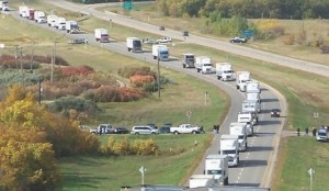 CARING CONVOY: Truckers in Saskatchewan take part in the World's Largest Truck Convoy Sept. 20. Saskatchewan truckers raised over $12,000 for Special Olympics and participants in three other provinces contributed to a national total of nearly $100,000.