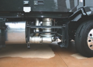 TAKING A PEAK: The SCR catalyst is located on the passenger side of the truck, but hidden from sight by the side fairings.