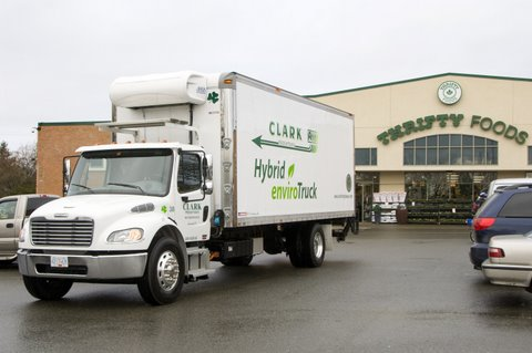The hybrid delivery truck could save fuel consumption by up to 35%.