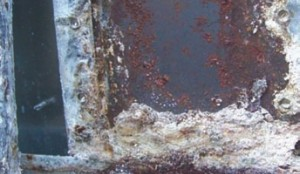 WORST CASE SCENARIO: Trapped water, salt accumulation and the combination of different metals all contributed to this case of trailer corrosion.
