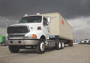 CLEANER, GREENER: Natural gas-powered Sterling trucks will help clear the air at the ports of Los Angeles and Long Beach, Cal.