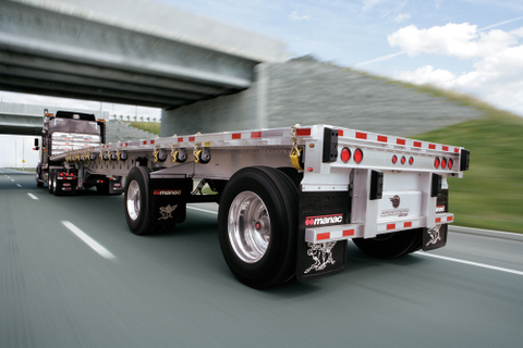 A 48-ft. Darkwing flatbed with a 122-inch tandem axle suspension.