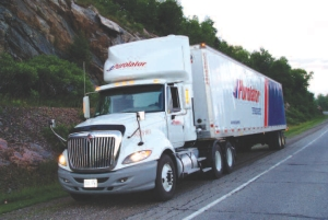 WHAT'S WRONG WITH THIS PICTURE?: Passing a road test with the tractor-trailer pictured would not allow a driver with three million accident-free miles to keep his A/Z licence. Why? Because new testing requirements in Ontario don't allow drivers -including experienced drivers -to take their road test using a truck with an automated transmission.