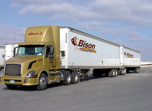 Bison Transport has been operating LCVs, such as this Turnpike Double, in Western Canada for years.
