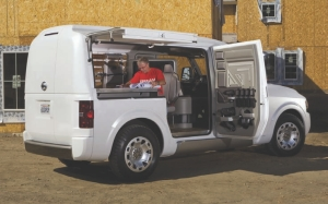 MOBILE OFFICE: The Nissan NV2500 can serve as a mobile office at job sites.