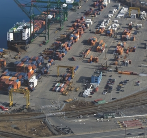 MORE EFFICIENT: The Port of Halifax truck marshalling yard, seen in the bottom right-hand corner of this picture, has received some needed upgrades.