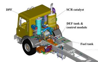 Mack's EPA2010 configuration with SCR for refuse trucks.