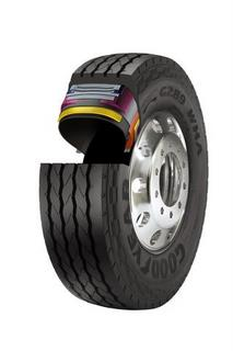 Goodyear's latest tire for waste haulers incorporates the company's DuraSeal technology, which automatically seals punctures up to a quarter-inch in diameter.
