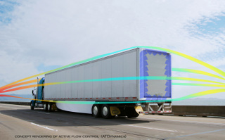 ATDynamics is developing new technology that modifies airflow at the rear of tractor-trailers.