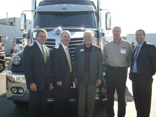 Pictured from left to right:  John Bowen, New Truck Sales Manager; Michael Hummel, Dealer Development Manager; Grant Ward, Deputy Mayor, Township of Langley; Rob Owen, General Manager, Harbour International; and John Whitnell, Vice President, Dealer Operations.