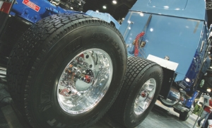 PROVEN: Trailer side skirts and wide-base single tires (pictured) are the two proven fuel-saving technologies, according to Loblaw's Wayne Scott.