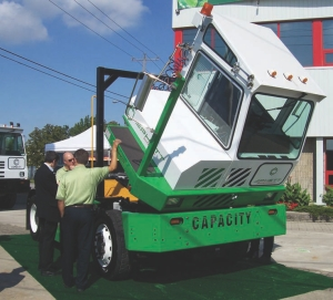 STAR ATTRACTION: The new Pluggable Hybrid Electric Terminal Tractor (PHETT) from Capacity attracted much attention during its Canadian debut at Glasvan Great Dane.