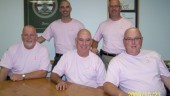 Top Yanke executives will be sporting the cue-ball look this fall after staff raised more than $40,000 for cancer research. Pictured in front row from left to right: Bryan Richards, Russel Marcoux, and Craig Bailey. Back row from left to right: Brett Marcoux and Dale Booth.
