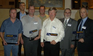 Pictured from left to right: Rick Blaine; Richard O'Brien vice-president, central/western region; Brad Willsey; Shawn Johns; Glen Dunn; Daniel Montmarquette, national manager TruckPro banner; and Mike Dwhytie.