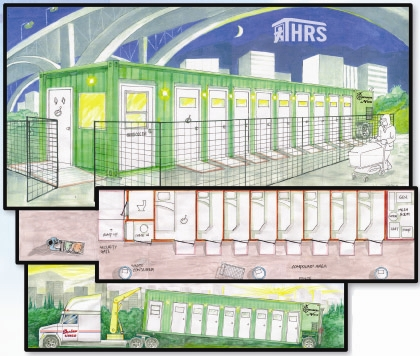 An artist's rendering of the shipping container homeless shelter built and operated by Shadow Lines Transportation Group.