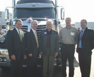 GRAND OPENING: Pictured from left to right: John Bowen, new truck sales manager; Michael Hummel, dealer development manager; Grant Ward, deputy mayor, Township of Langley; Rob Owen, general manager, Harbour International; and John Whitnell, vice-president, dealer operations.