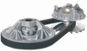 KEY DIFFERENCE: This is the CVT transmission CVTech developed for India's Tata Motors Nano micro car. All is in the two pulleys' diameter variation.