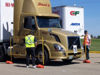 Professional drivers compete in a previous Professional Truck Driving Championship event.