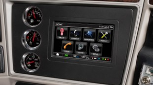 The Kenworth NavPlus infotainment station provides driver-friendly services such as truck-specific GPS and satellite radio.