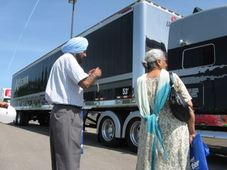 Visitors pause to take a photo at the Road Today Truck Show on the weekend of May 29-30.