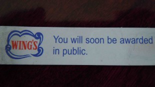 Just days before being notified he was this year's winner, Brouwer received this fortune cookie message.