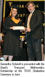 Grant's Transport recently awarded a math scholarship to Samantha Schmidt.