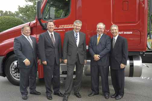 From left: Randy Smith, DTNA; Howard Lukens; DTNA; Martin Daum, DTNA; Max Fuller, U.S. Xpress; Mark Lampert, DTNA.