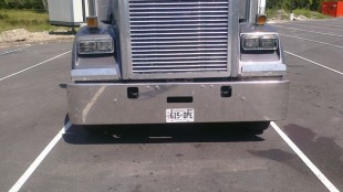 Driver James Garvin found the truck parking spots at West Lorne to be a bit tight, to say the least.