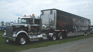 TROTTING OUT THE SHOW TRUCKS: This Kenworth tractor and horse hauler belonging to Stoney Lake Belgians was showcased at the Stirling Truck Show show'n'shine.