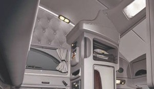 SKY HIGH: The Kenworth T700 may be the ultimate team truck, with a 96-inch ceiling height so even a full-sized driver can sit upright in the top bunk.