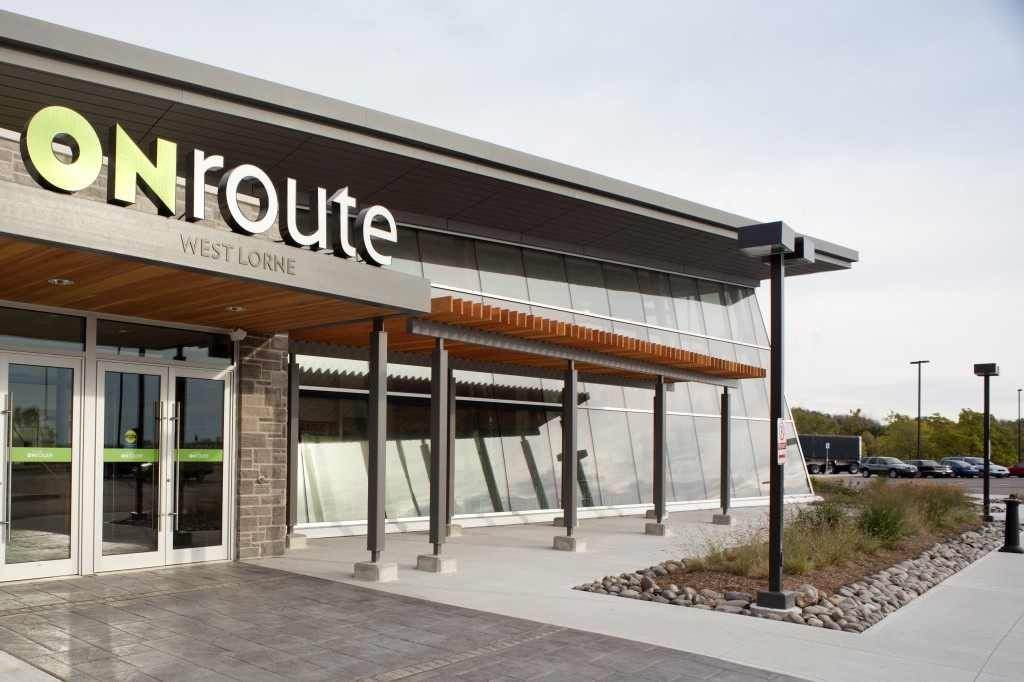 The West Lorne service centre is officially open and the truck parking spaces have been widened since Truck News reported the width of the parking spaces was inadequate.
