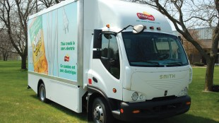 FULLY ELECTRIC: Frito Lay has purchased six of these trucks from Smith Electric Vehicles. They run almost noiseless. Smaller motors located at the front of the chassis drive the power steering and air compressor.