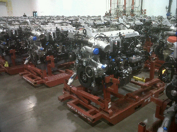International MaxxForce engines sit waiting for delivery at Navistar's big bore engine plant in Huntsville, Alabama. These are 2010 engines certified at 0.5 g NOx.