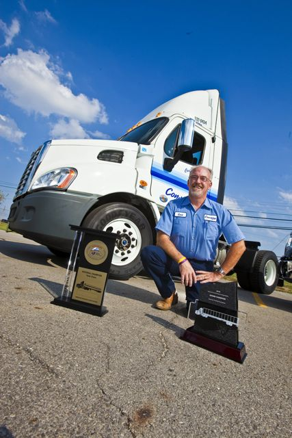 Driving champ Carl Krites gets the exclusive use of a tricked-out Freightliner Cascadia for his achievements.