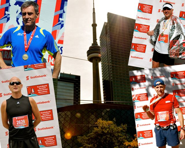 A group of Polish-Canadian truckers parked their trucks recently to take part in the Scotiabank Toronto Waterfront Marathon. Clockwise from top left: Marek Nowakowski, Mariusz Rozanski, Zbigniew Ek and Boguslaw Wojewodka.