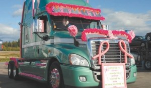 READY TO ROLL: This truck belonging to Alan Warren of Montrose, P.E.I. and driven by Mike Ouellet took part in the support convoy in the New Brunswick version of the popular Convoy for a Cure.