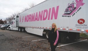 FULL-TIME RIDE: Convoy for a Cure founder Rachele Champagne now has a specially designed tractor-trailer to drive year-round to help raise awareness.