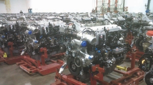 READY TO SHIP: International MaxxForce engines sit waiting to be shipped at Navistar's Huntsville big bore engine plant.