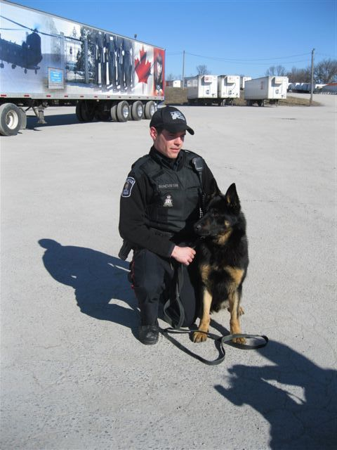 Const. Jeff McNevin with his new partner Rony, who was donated by International Truckload Services.