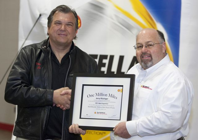 Owner/operator Jerry Kissinger (left) is the first American member of Shell Rotella's Million Mile Haul of Fame.